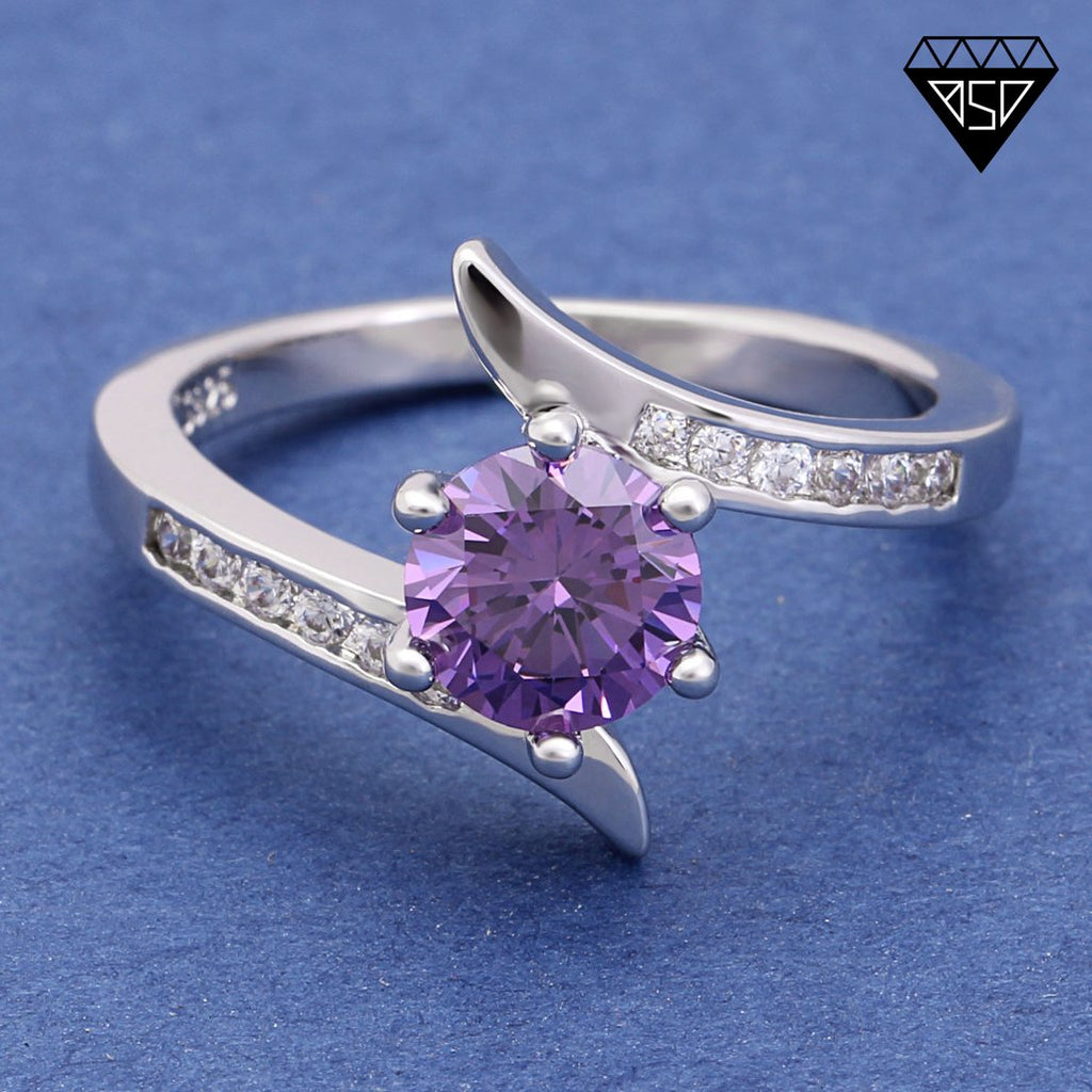 February Amethyst Birthstone S925 Tension-Style Ring