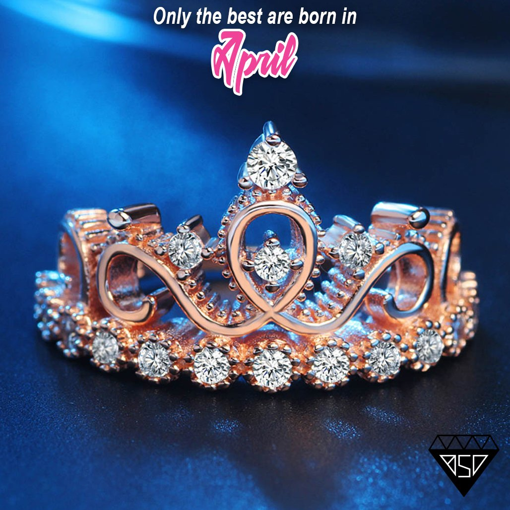 Princess Tiara Rose-Gold Ring - Birthstone Deals