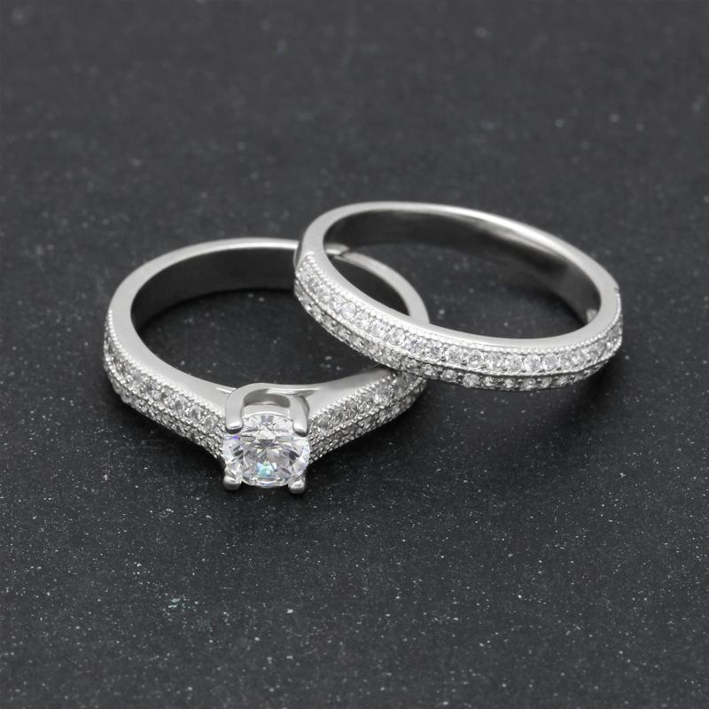Silver Diamond Birthstone 2pc Ring Set (April)