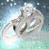 Silver Diamond Birthstone Ring (April)