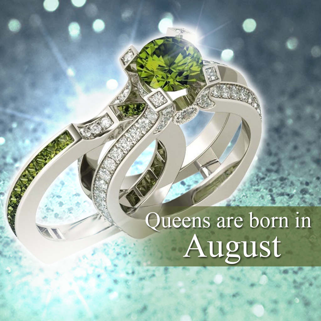 Silver Peridot Birthstone Ring (August)