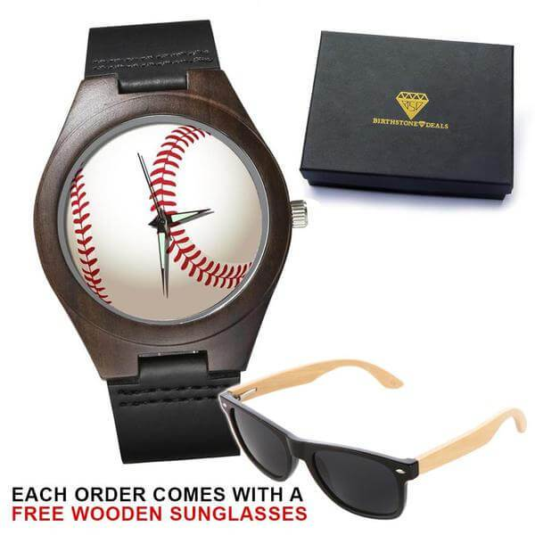 Baseball Love Ebony Wood Watch (with FREE wooden Sunglasses)