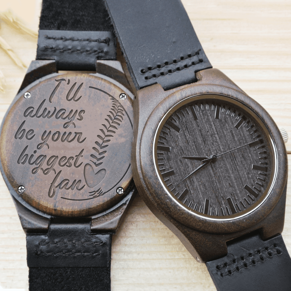 Biggest Fan - Baseball - Ebony Wood Watch