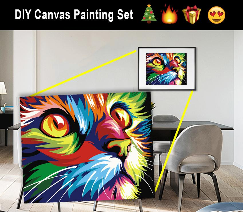 DIY Grumpy Cat Canvas Oil Painting Set