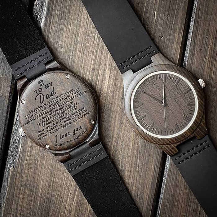 To Dad - From Son - Always & Forever - Wood Watch