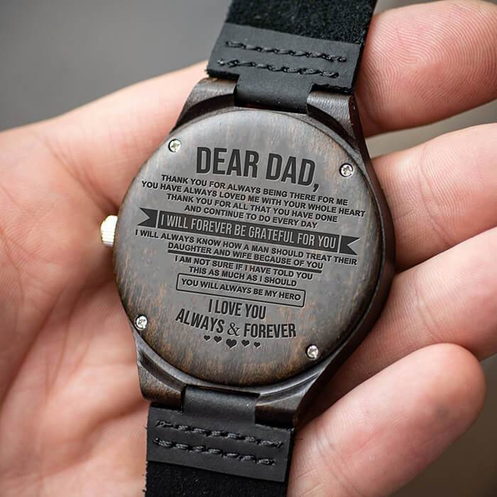 To Dad - Forever My Hero - From Daughter - Wood Watch