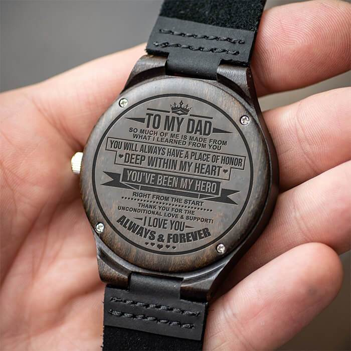 To Dad - My Hero - Wood Watch