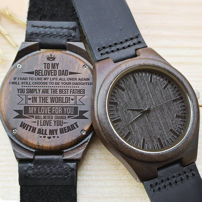 Dad - I Love You With All My Heart - Wood Watch