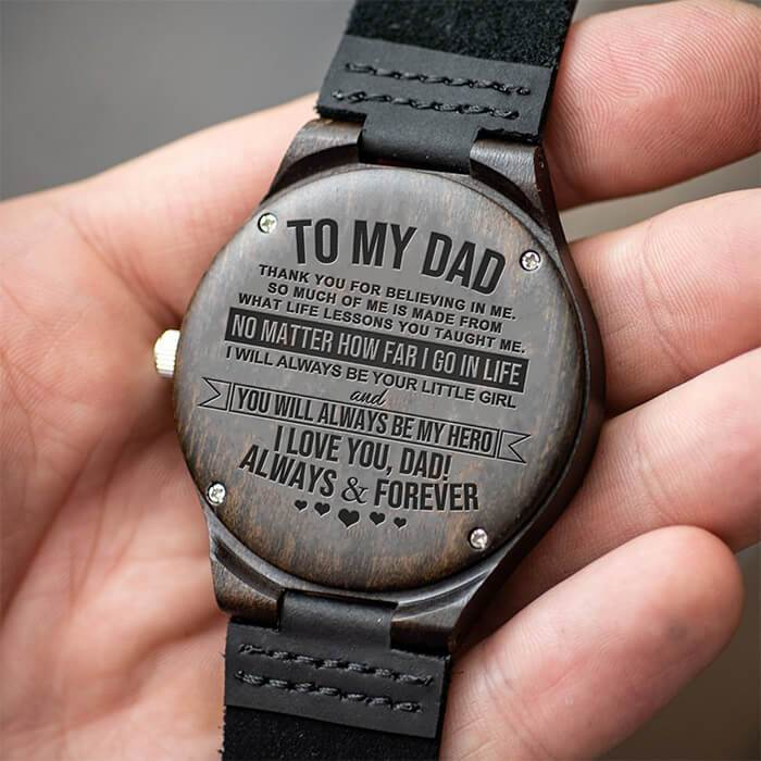 Dad - Always Be Your Little Girl - From Daughter - Wood Watch