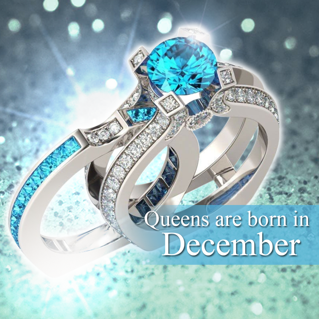 Silver Blue Topaz Birthstone Ring December Birthstone