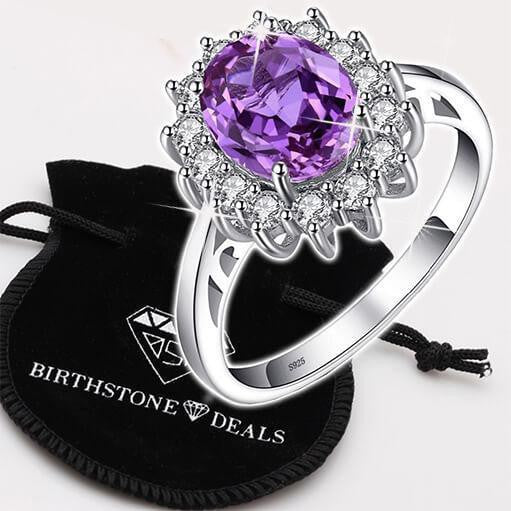 Princess Diana inspired 3.2CT Amethyst S925 Ring (February)