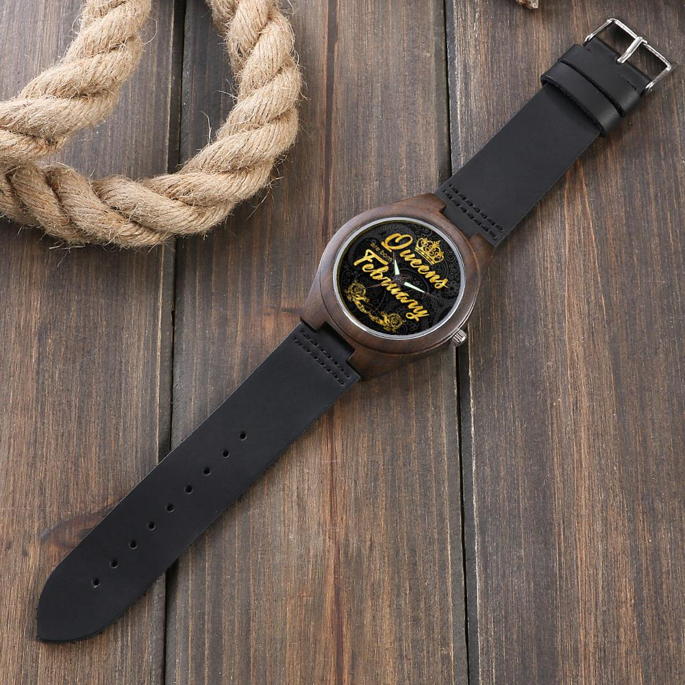 Personalized February Queen - Ebony Wood Watch