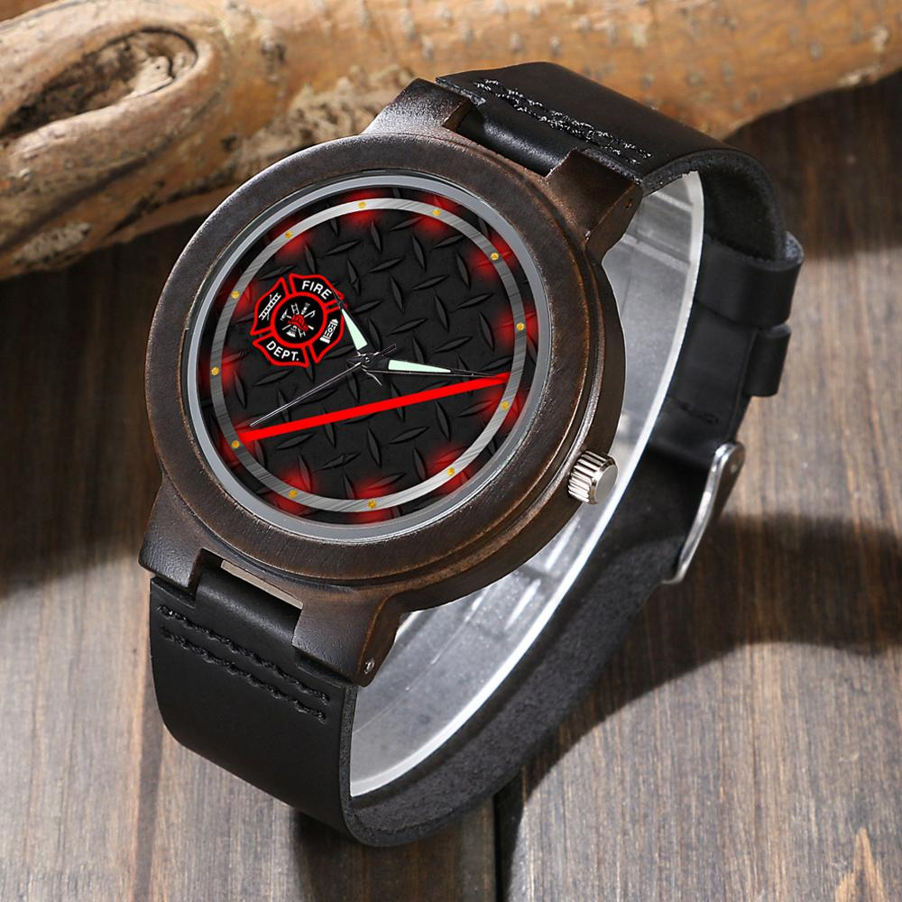 Firefighter's Wood Watch (Thin Red Line)