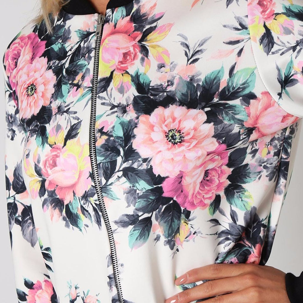 Floral Printed Women's Bomber Jacket