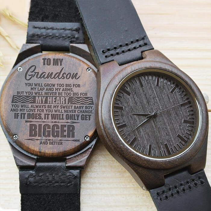Grandson - Never Too Big For My Heart - Wood Watch