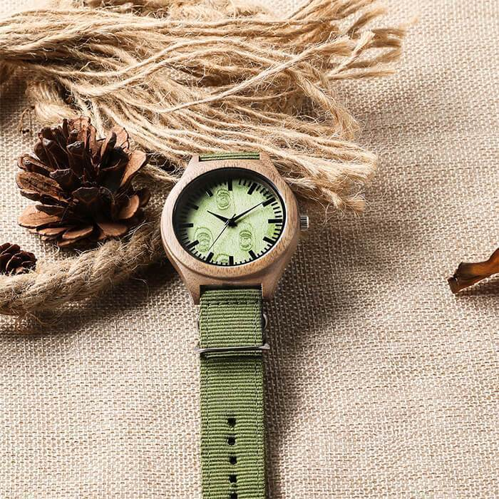 A Great Life Partner - My Husband - Wood Watch Forest Green Canvas Strap