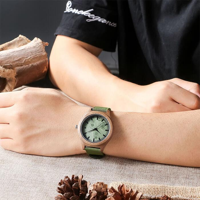 I Love You Always - My Husband - Wood Watch Forest Green Canvas Strap