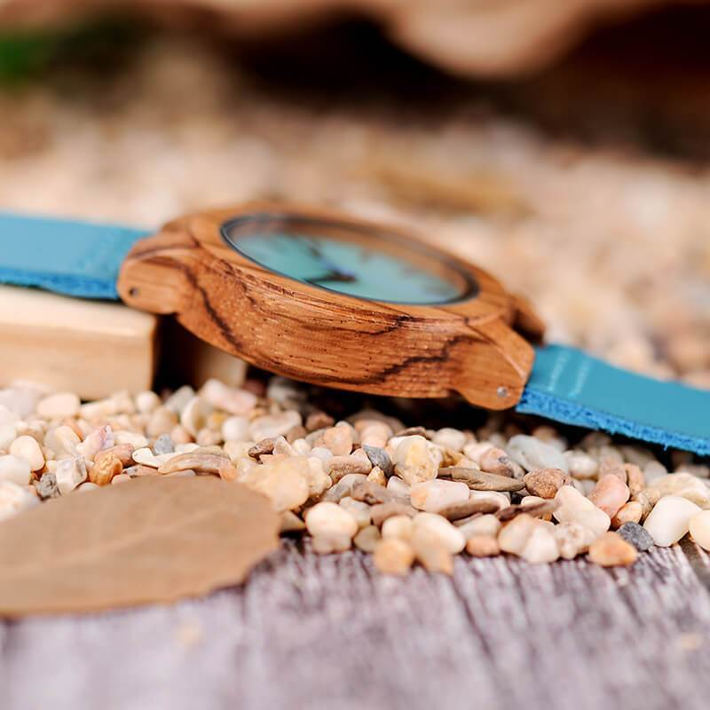 Mom - I'm Grateful I Have You - Sky Blue Leather Wood Watch