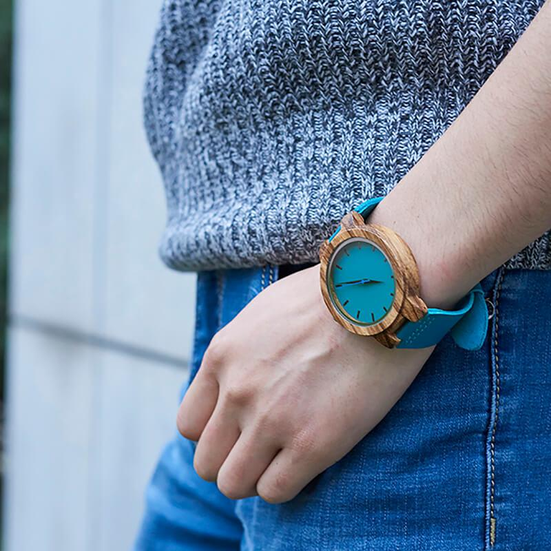 To Mom - From Daughter - Sky Blue Leather Wood Watch