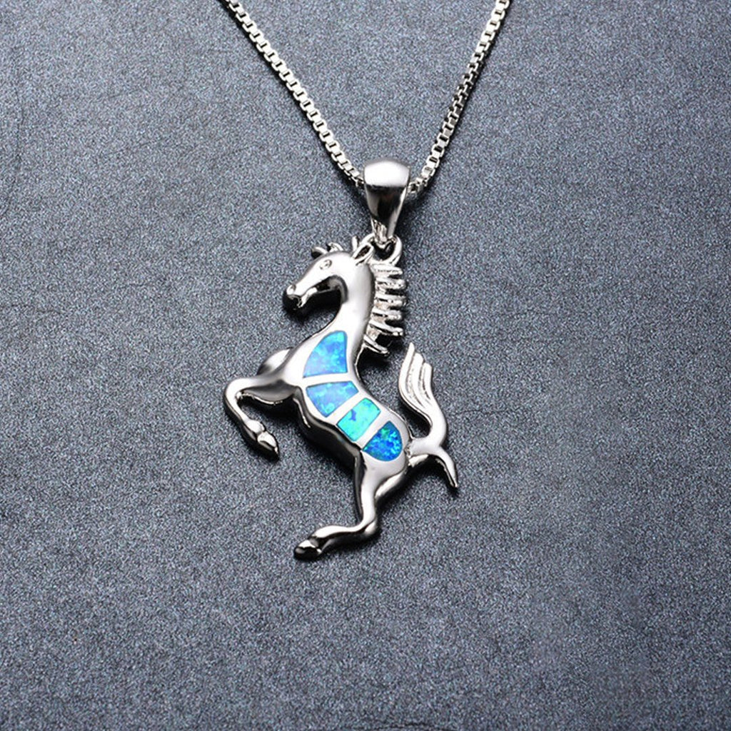October Opal Horse Lady Pendant Necklace