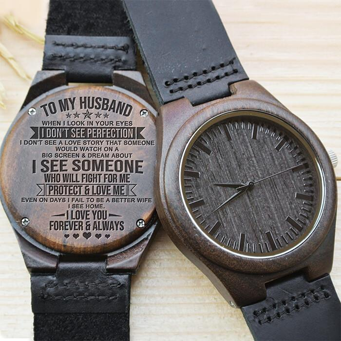 I See Home - My Husband - Wood Watch