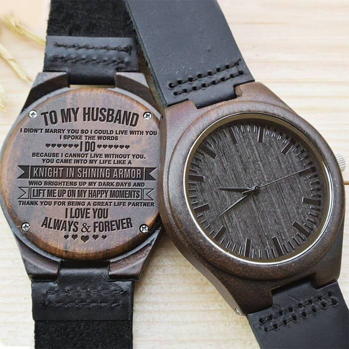 Can't Live Without You - My Husband - Wood Watch