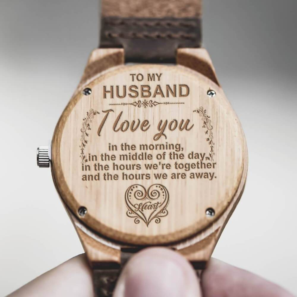 Always - My Husband - Custom Photo Wood Watch