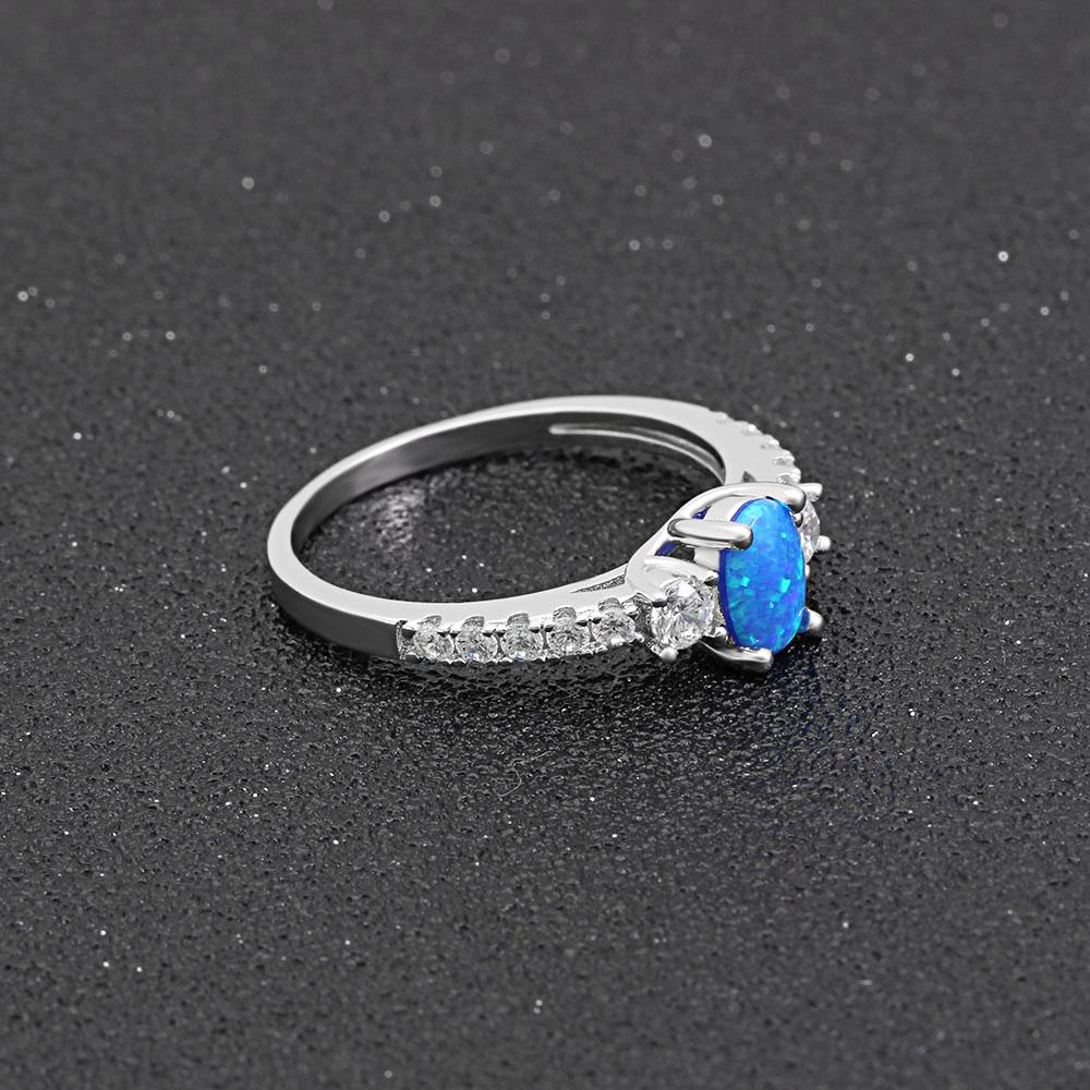 October Birthstone Blue Opal Sterling Silver Ring