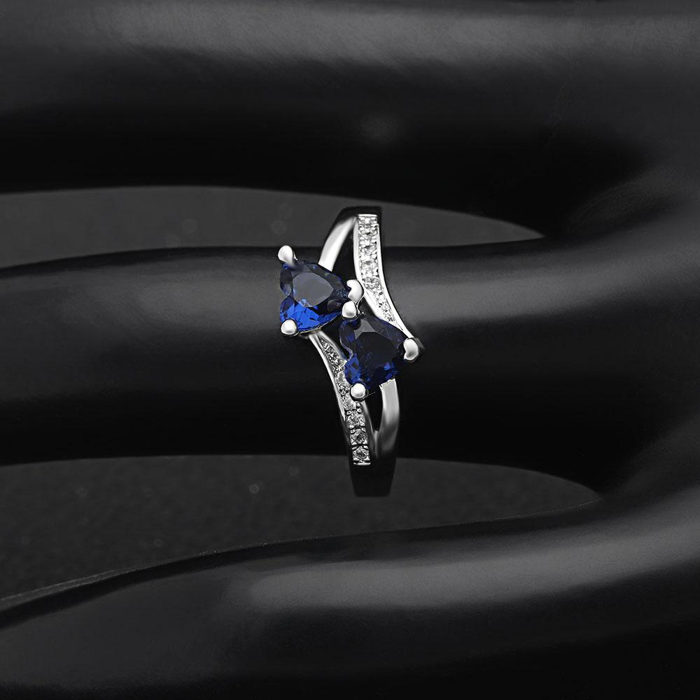 Twin-Hearts Sapphire Ring