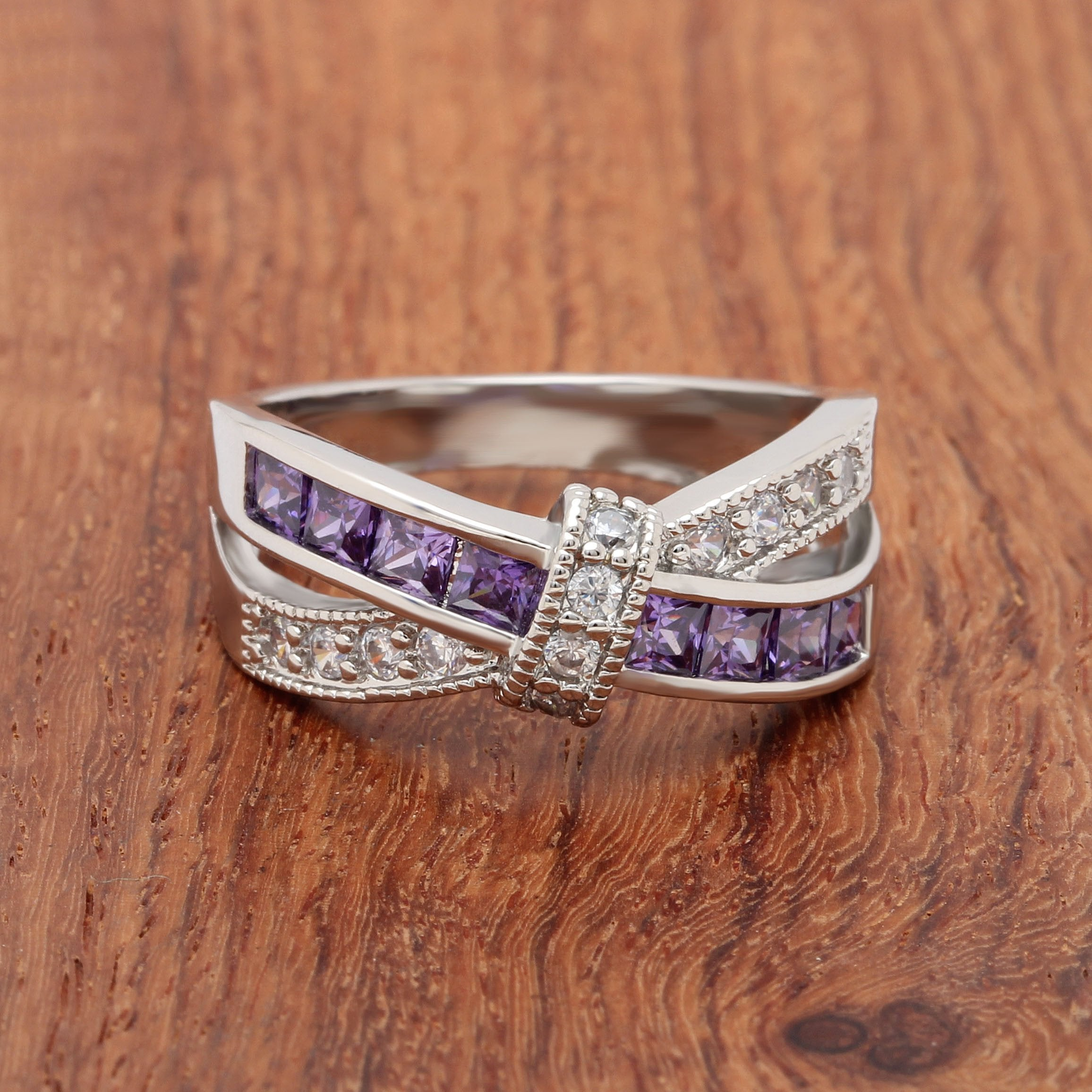 ring tri cut oval blossom stone products engagement amethist wedding purple three zirconia light cubic cocktail cz amethyst faux anniversary lavendar rings diamond