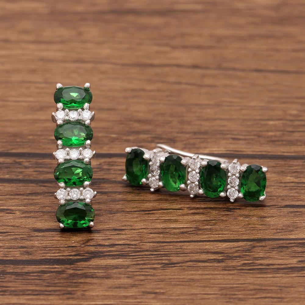 May Birthstone Emerald S925 Earring Set