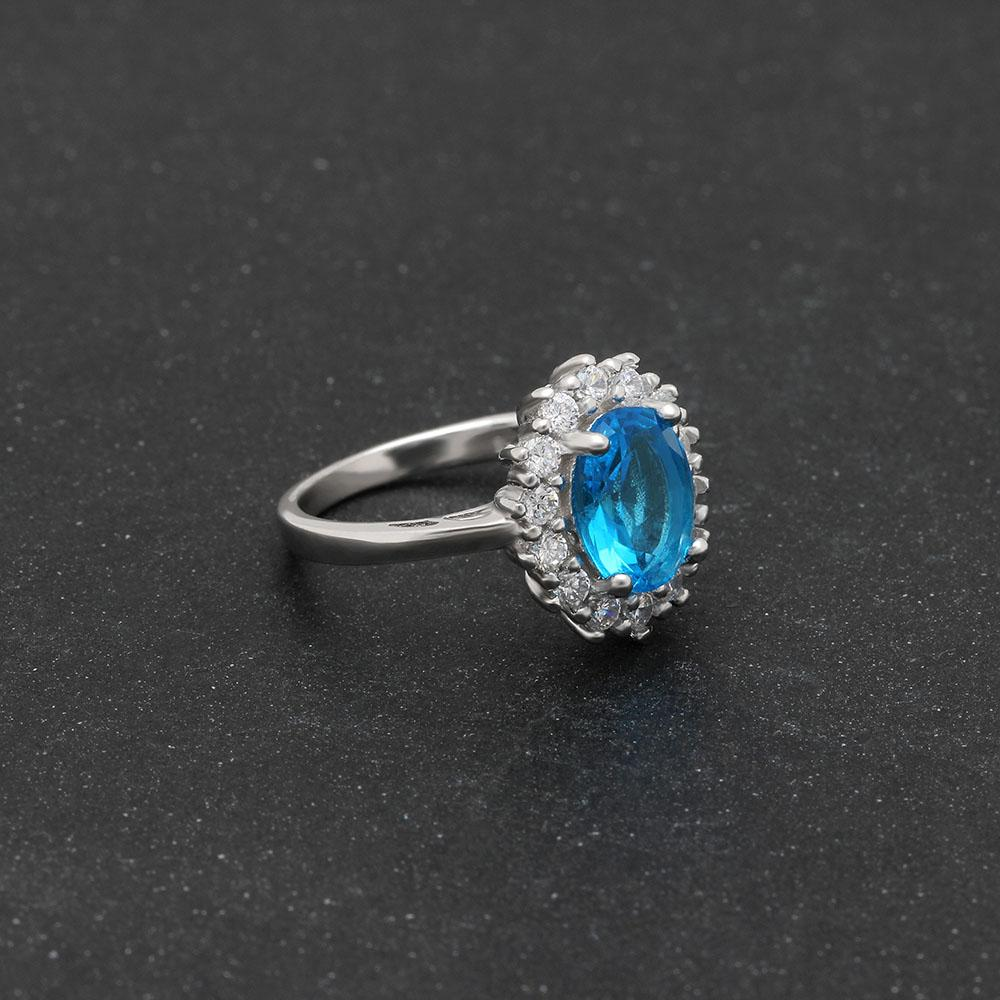 Princess Diana inspired 1.2ct Blue Topaz S925 Ring (November)