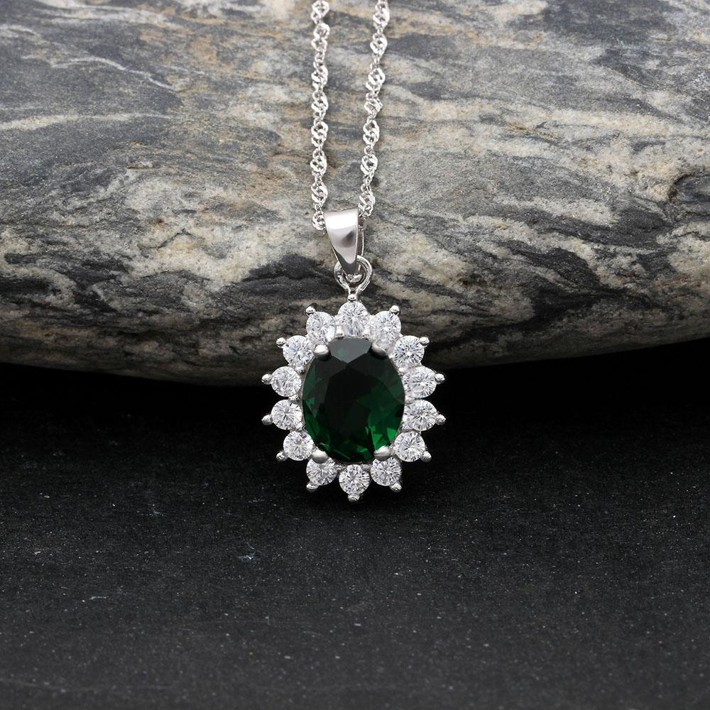 Princess Diana inspired 1.8ct Emerald S925 Pendant Necklace (May)