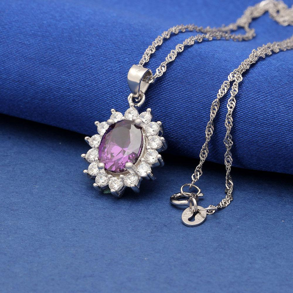Princess Diana inspired 1.8ct Amethyst S925 Pendant Necklace (February)
