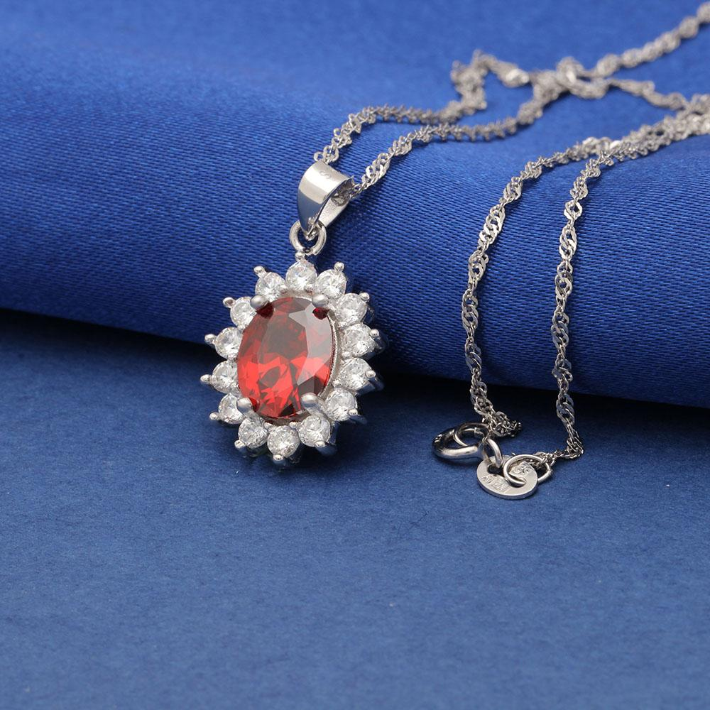 Princess Diana inspired 1.8ct Ruby S925 Pendant Necklace (July)
