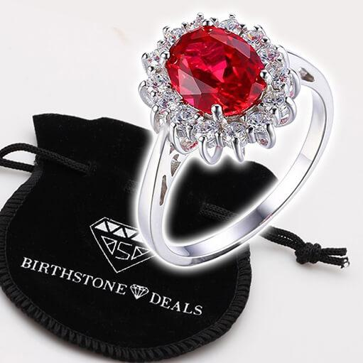1916df5e8be Princess Diana inspired 3.2ct Ruby S925 Ring (July) ...
