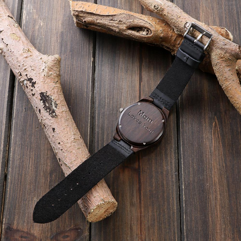 Personalized May Queen - Ebony Wood Watch