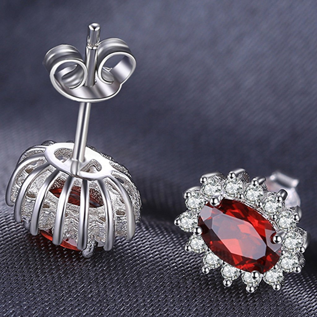 Princess Diana inspired 1.2CT Garnet Sterling Silver Earrings (January)