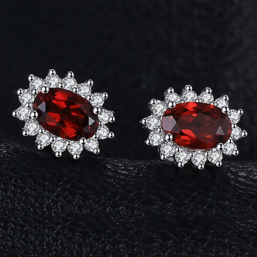 Princess Diana inspired 1.2CT Ruby Sterling Silver Earrings (July)