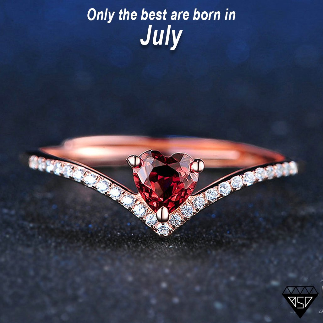 da14a545ef41c8 July Ruby Heart Rose-Gold Ring (One-size-fits-all) - Birthstone Deals
