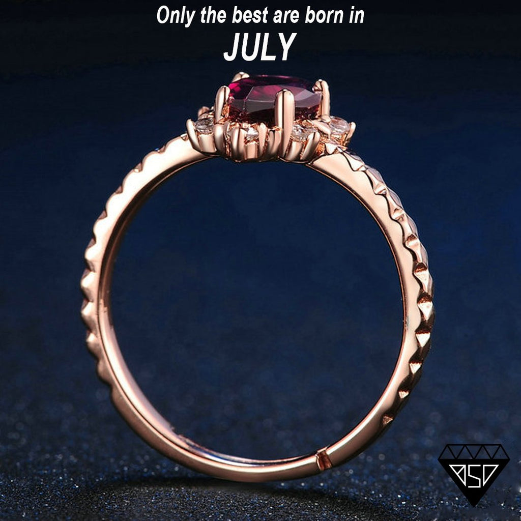 Isabella Ruby 18K Rose-Gold Adjustable Ring (July)