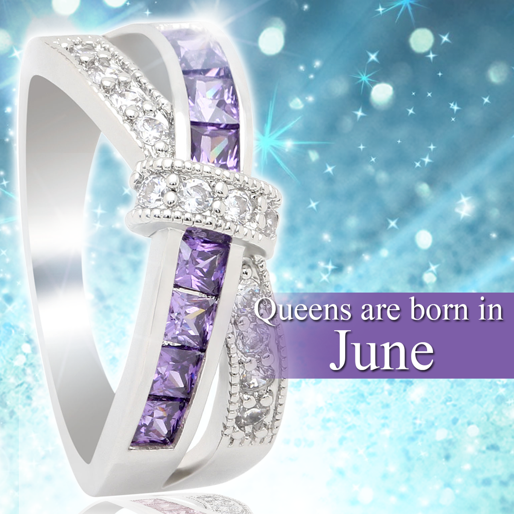 June Birthstone White Gold Filled Ring