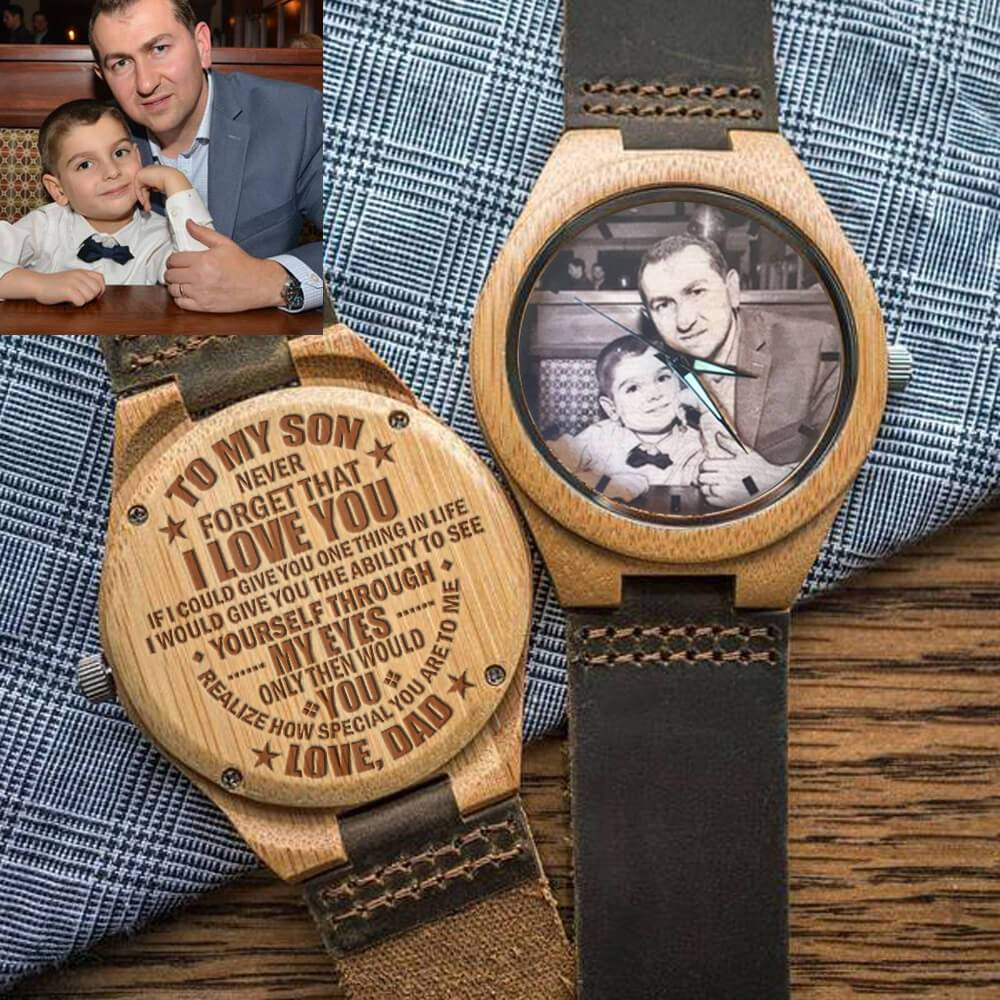 To My Son - Dad - Custom Engraved Photo Wood Watch