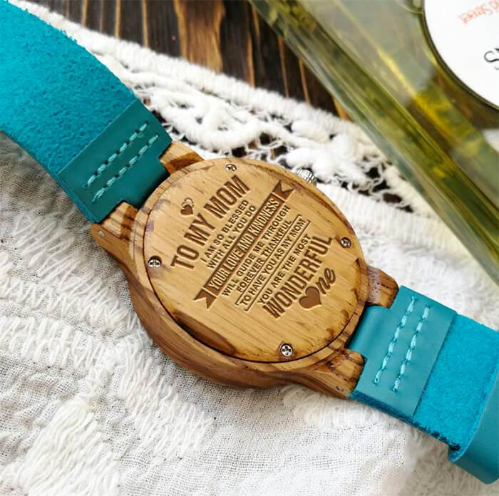 To My Wonderful Mom - Sky Blue Leather Wood Watch