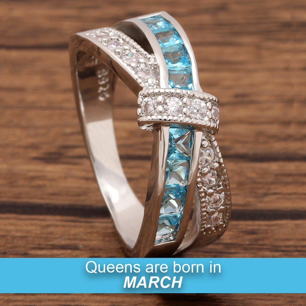March Birthstone White Gold Filled Ring