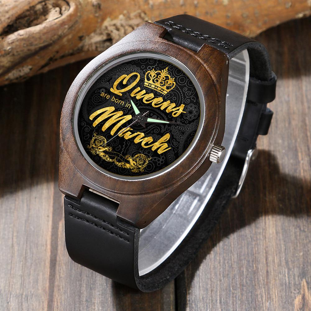 Personalized March Queen - Ebony Wood Watch