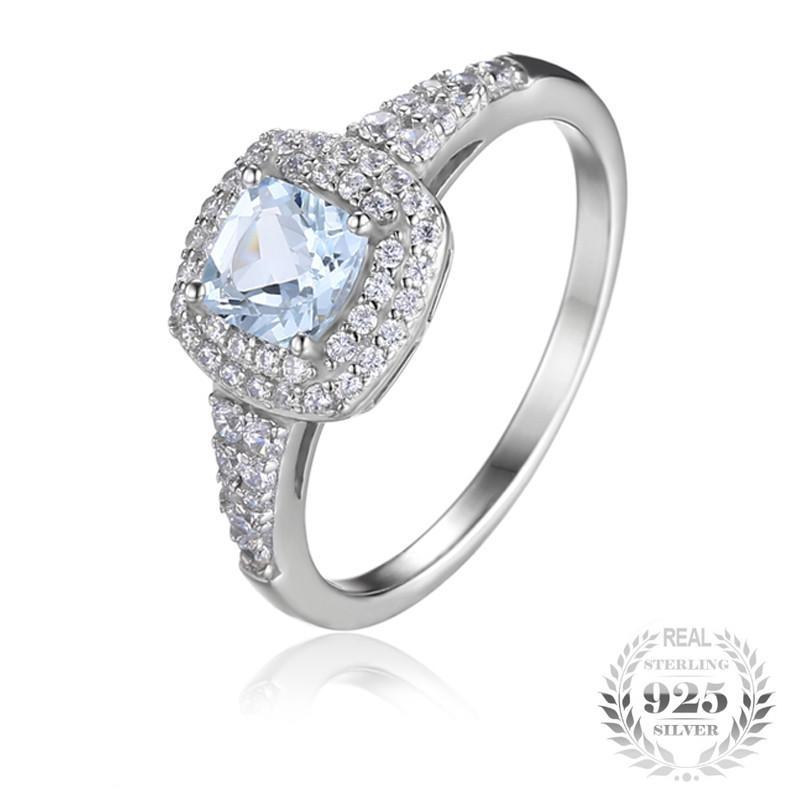 Genuine Cushion Cut 0.9ct Aquamarine Halo Birthstone Ring (March)