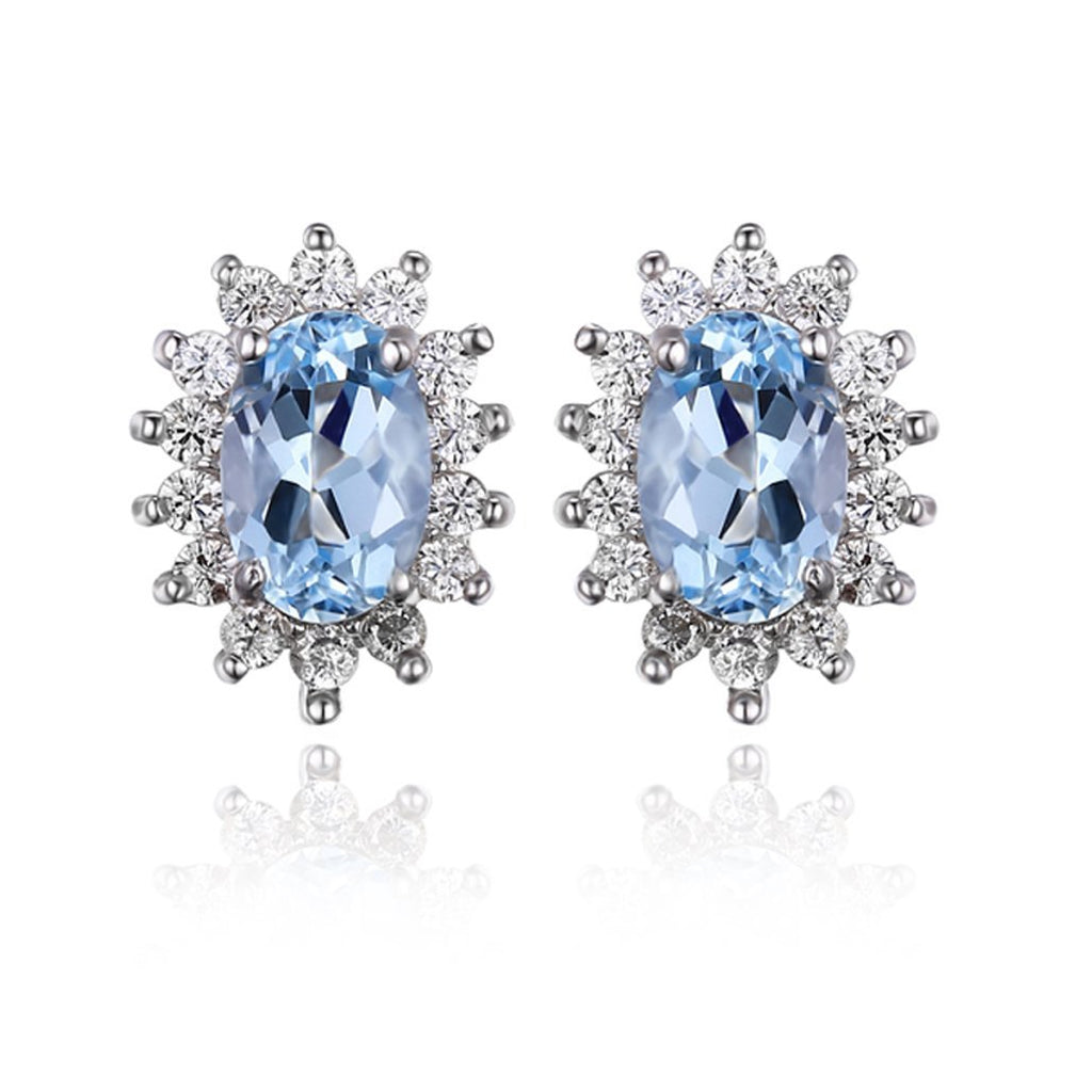 March Birthstone Princess Diana inspired 1.0ct Aquamarine S925 Earring