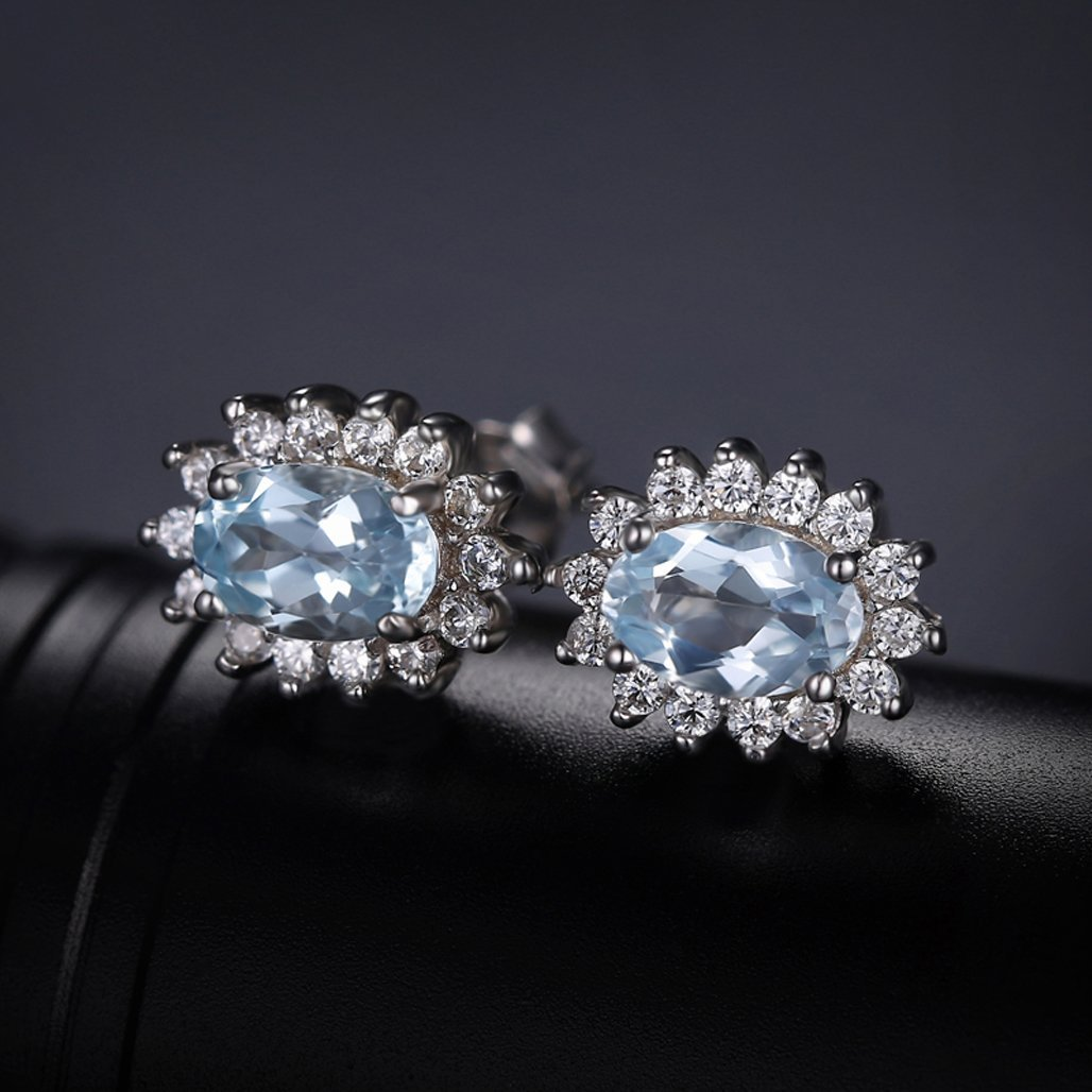 genuine women hoop aquamarine fancy for jewelry sterling pin hutang earrings silver gems