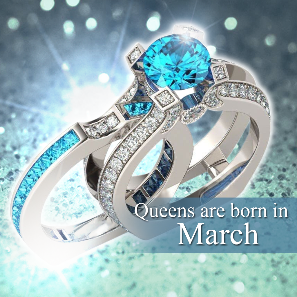 birthstone ring march itm about gold heart aquamarine rings crown princess details